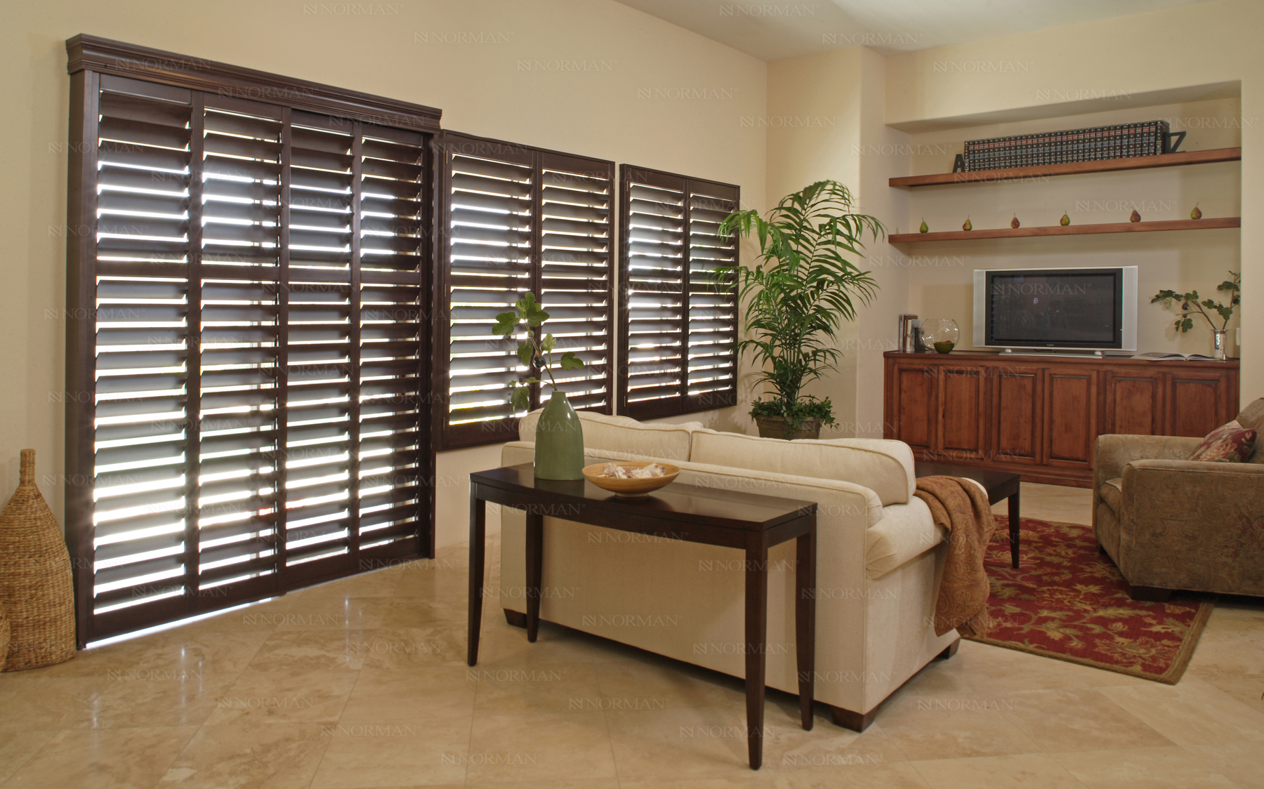 Villa blind and shutter home window coverings shades for Should plantation shutters match trim